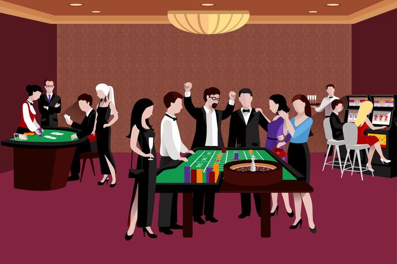 カジノを楽しむ人たちのイラスト